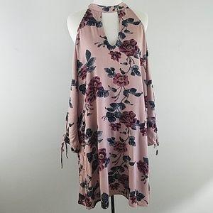 AEO cold shoulder floral dress open sleeves boho